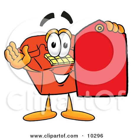 Clipart Picture of a Red Telephone Mascot Cartoon Character Holding a Red Sales Price Tag by Toons4Biz