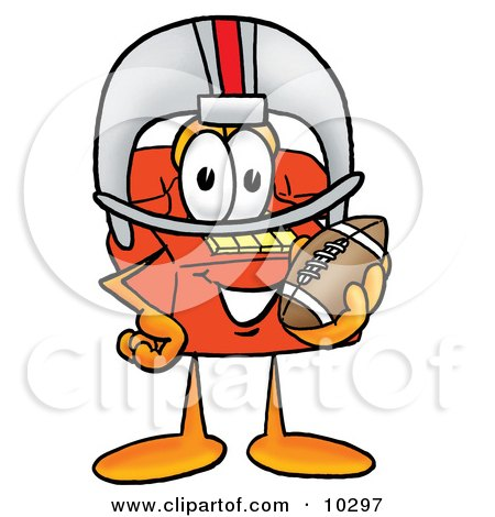 Clipart Picture of a Red Telephone Mascot Cartoon Character in a Helmet, Holding a Football by Toons4Biz