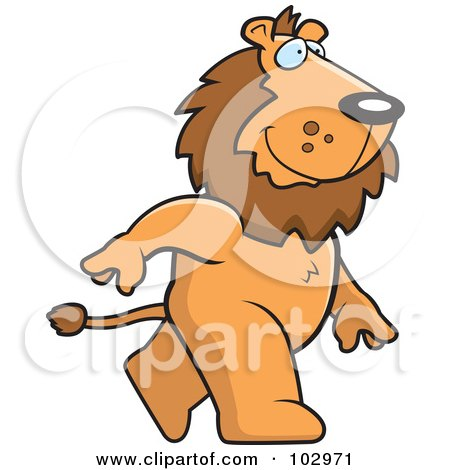 Royalty-Free (RF) Clipart Illustration of a Happy Lion Walking by Cory Thoman