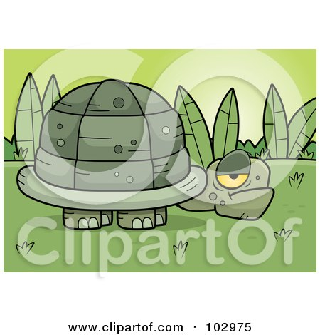 Royalty-Free (RF) Clipart Illustration of a Grumpy Old Tortoise Near Plants by Cory Thoman