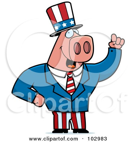 Royalty-Free (RF) Clipart Illustration of a Patriotic Pig by Cory Thoman