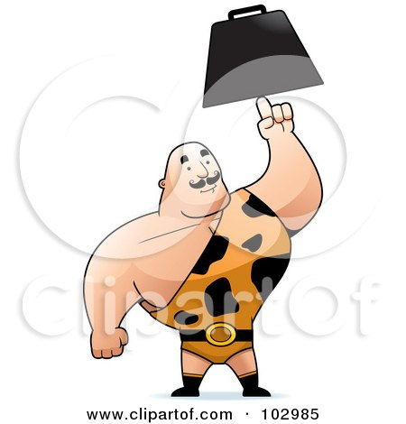 Royalty-Free (RF) Clipart Illustration of a Strong Man In A Spotted Outfit, Holding Up An Anvil by Cory Thoman
