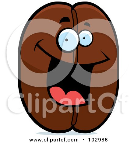 Royalty-Free (RF) Clipart Illustration of a Happy Smiling Coffee Bean by Cory Thoman