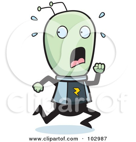 Royalty-Free (RF) Clipart Illustration of a Scared Running Alien by Cory Thoman