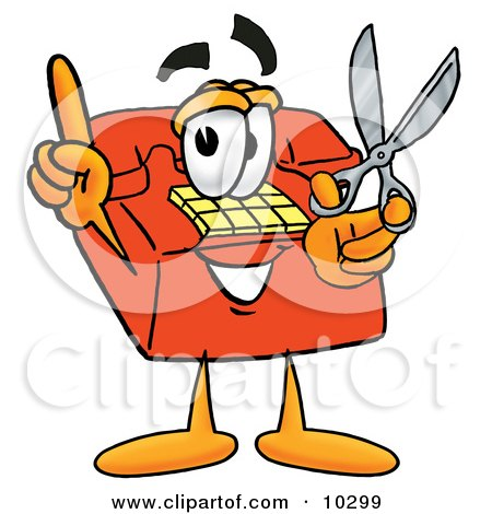 Clipart Picture of a Red Telephone Mascot Cartoon Character Holding a Pair of Scissors by Toons4Biz