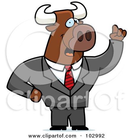 Royalty-Free (RF) Clipart Illustration of a Waving Bull Businessman by Cory Thoman