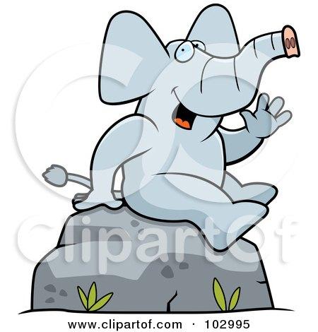 Royalty-Free (RF) Clipart Illustration of a Friendly Sitting Elephant Waving by Cory Thoman