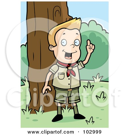 Royalty-Free (RF) Clipart Illustration of a Knowledgeable White Cub Scout Boy In The Woods by Cory Thoman