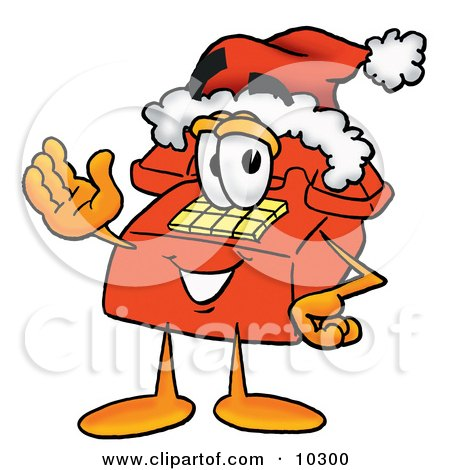 Clipart Picture of a Red Telephone Mascot Cartoon Character Wearing a Santa Hat and Waving by Toons4Biz