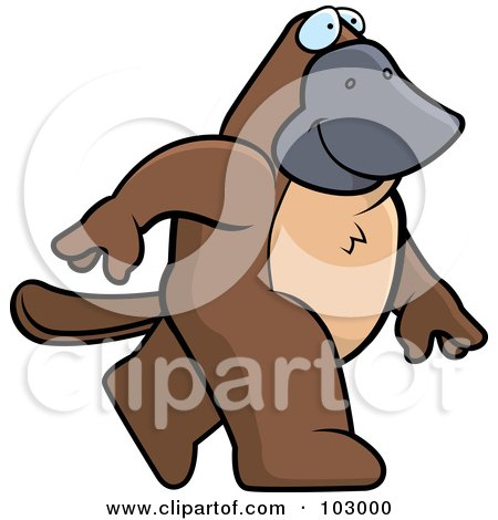 Royalty-Free (RF) Clipart Illustration of a Happy Platypus Walking by Cory Thoman