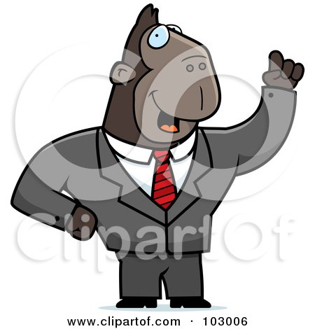 Royalty-Free (RF) Clipart Illustration of a Waving Ape Businessman by Cory Thoman