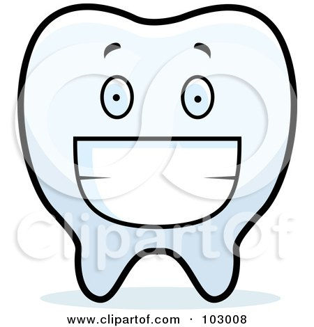 Royalty-Free (RF) Clipart Illustration of a Grinning Tooth by Cory Thoman