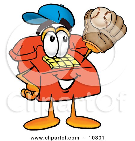 Clipart Picture of a Red Telephone Mascot Cartoon Character Catching a Baseball With a Glove by Toons4Biz