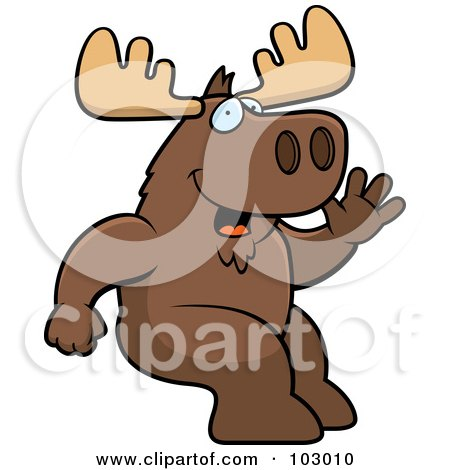 Royalty-Free (RF) Clipart Illustration of a Friendly Sitting Moose Waving by Cory Thoman