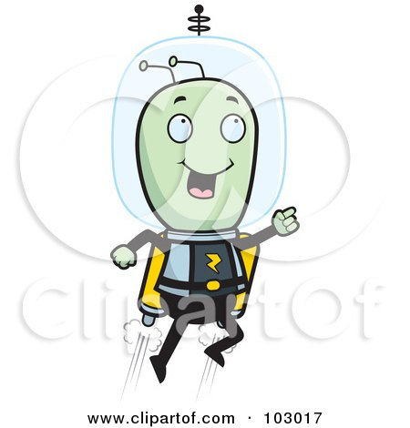 Royalty-Free (RF) Clipart Illustration of a Space Alien Using A Jetpack by Cory Thoman