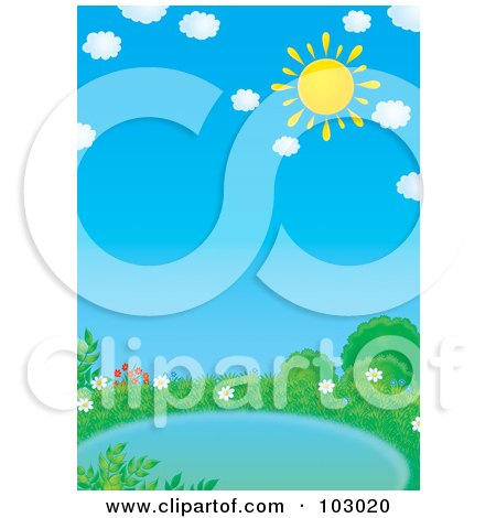 Royalty-Free (RF) Clipart Illustration of a Yellow Sun In The Sky With Puffy Clouds Over A Pond by Alex Bannykh