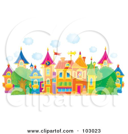 Royalty-Free (RF) Clipart Illustration of Puffy Clouds Above A Colorful Village by Alex Bannykh