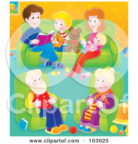 Royalty-Free (RF) Clipart Illustration of a Granny Knitting In A Living Room With Her Family by Alex Bannykh