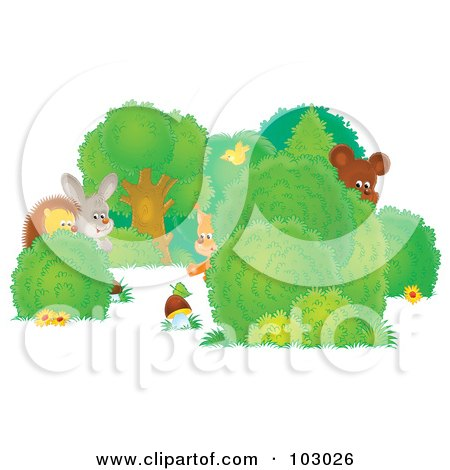 Royalty-Free (RF) Clipart Illustration of Shy Wild Animals Peeking Around Shrubs by Alex Bannykh