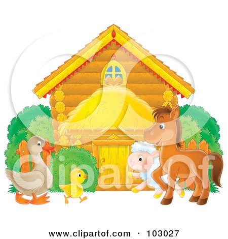 Royalty-Free (RF) Clipart Illustration of a Goose, Chicken, Lamb And Pony Outside A Log Barn by Alex Bannykh