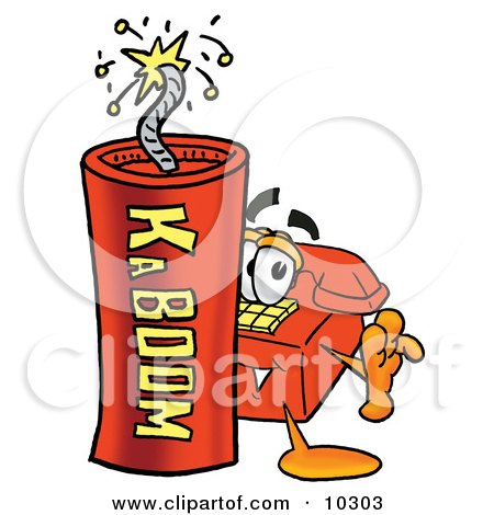 Clipart Picture of a Red Telephone Mascot Cartoon Character Standing With a Lit Stick of Dynamite by Toons4Biz