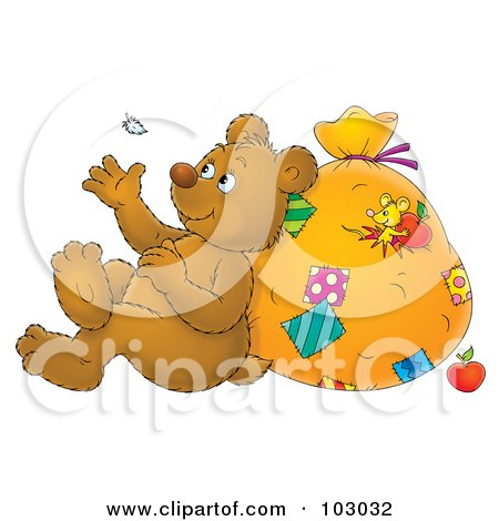 Royalty-Free (RF) Clipart Illustration of a Bear Leaning Against A Sack And Watching A Floating Feather by Alex Bannykh