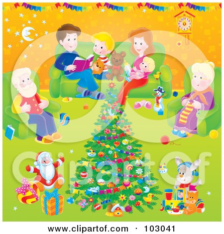 Royalty-Free (RF) Clipart Illustration of a Family Around A Christmas Tree In A Living Room by Alex Bannykh