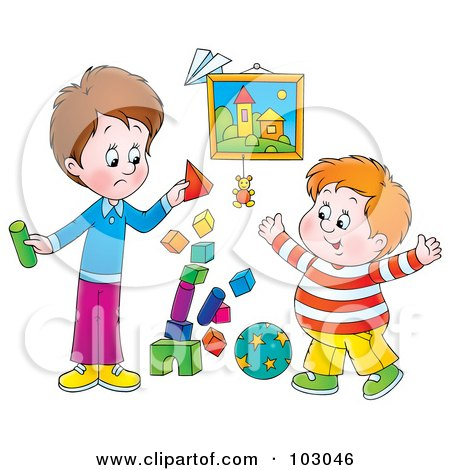 Royalty-Free (RF) Clipart Illustration of a Stack Of Blocks Tumbling While Two Boys Play by Alex Bannykh