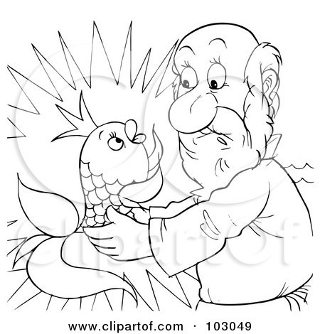 Royalty-Free (RF) Clipart Illustration of a Coloring Page Outline Of A Man Holding A Talking Fish by Alex Bannykh