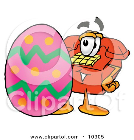 Clipart Picture of a Red Telephone Mascot Cartoon Character Standing Beside an Easter Egg by Toons4Biz