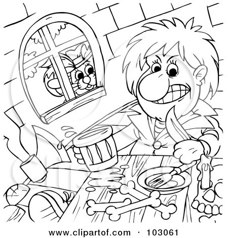 Royalty-Free (RF) Clipart Illustration of a Coloring Page Outline Of Puss In Boots Watching A Man Eat Through A Window by Alex Bannykh