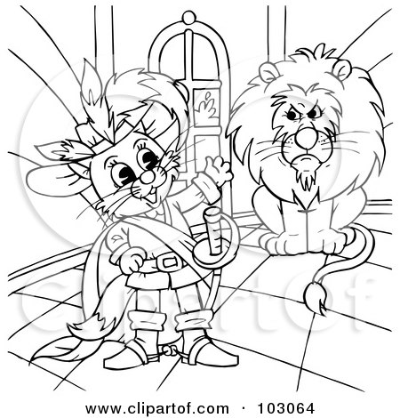 Royalty-Free (RF) Clipart Illustration of a Coloring Page Outline Of Puss In Boots By A Lion by Alex Bannykh