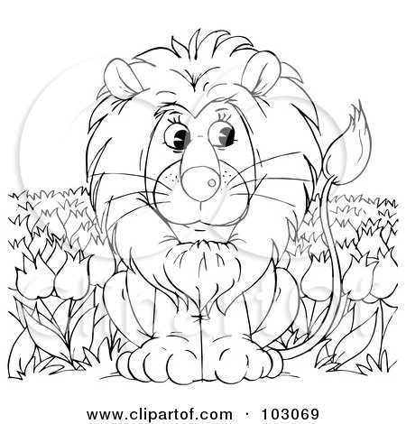 Royalty-Free (RF) Clipart Illustration of a Coloring Page Outline Of A Lion In A Tulip Field by Alex Bannykh