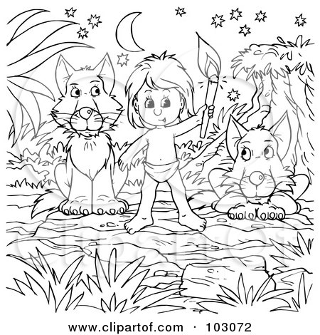 Royalty-Free (RF) Clipart Illustration of a Coloring Page Outline Of A Boy Living With Wolves by Alex Bannykh