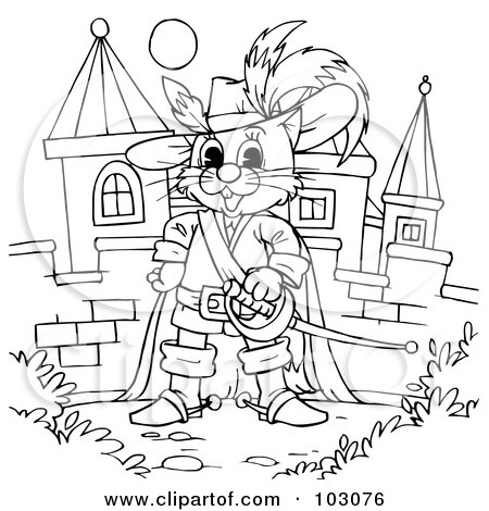 Royalty-Free (RF) Clipart Illustration of a Coloring Page Outline Of Puss In Boots By A Castle by Alex Bannykh