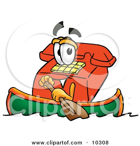 Clipart Picture of a Red Telephone Mascot Cartoon Character Rowing a Boat by Toons4Biz