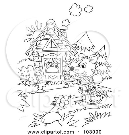 Royalty-Free (RF) Clipart Illustration of a Coloring Page Outline Of A Wandering Mouse By A Frog's House by Alex Bannykh