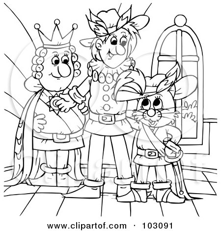Royalty-Free (RF) Clipart Illustration of a Coloring Page Outline Of Puss In Boots With The King by Alex Bannykh