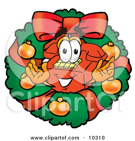 Clipart Picture of a Red Telephone Mascot Cartoon Character in the Center of a Christmas Wreath by Toons4Biz