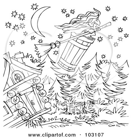 Royalty-Free (RF) Clipart Illustration of a Coloring Page Outline Of A Witch Flying Away In A Barrel by Alex Bannykh