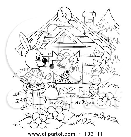 Royalty-Free (RF) Clipart Illustration of a Coloring Page Outline Of A Wandering Rabbit By A House by Alex Bannykh
