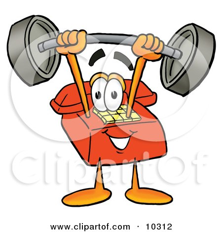 Clipart Picture of a Red Telephone Mascot Cartoon Character Holding a Heavy Barbell Above His Head by Toons4Biz