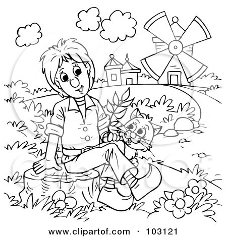 Royalty-Free (RF) Clipart Illustration of a Coloring Page Outline Of Puss In Boots By A Boy by Alex Bannykh