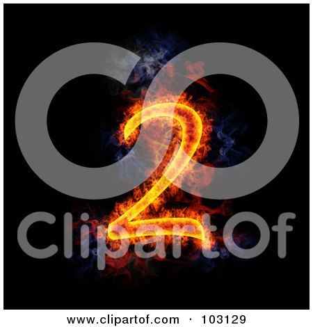 Royalty-Free (RF) Clipart Illustration of a Blazing Number 2 Symbol by Michael Schmeling