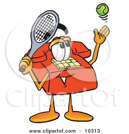 Clipart Picture of a Red Telephone Mascot Cartoon Character Preparing to Hit a Tennis Ball by Toons4Biz