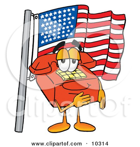 Clipart Picture of a Red Telephone Mascot Cartoon Character Pledging Allegiance to an American Flag by Toons4Biz