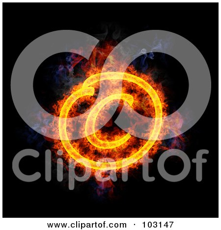 Royalty-Free (RF) Clipart Illustration of a Blazing Copyright Symbol by Michael Schmeling