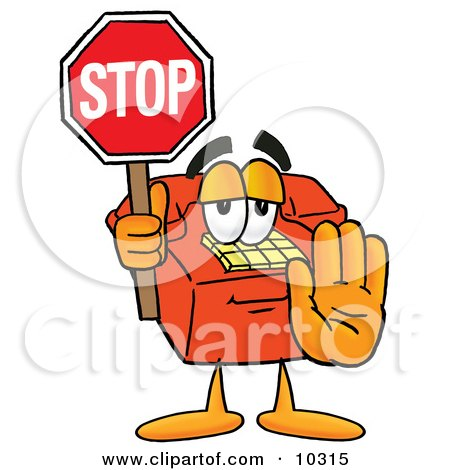 Clipart Picture of a Red Telephone Mascot Cartoon Character Holding a Stop Sign by Toons4Biz
