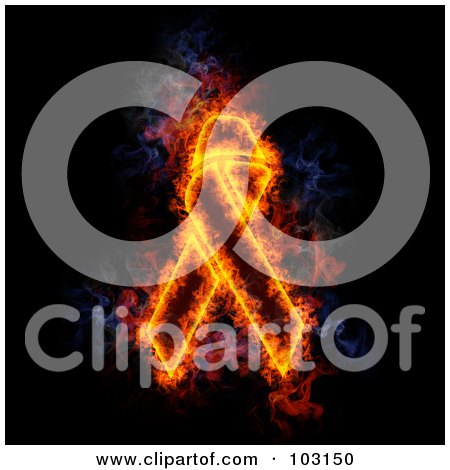 Royalty-Free (RF) Clipart Illustration of a Blazing Awareness Ribbon Symbol by Michael Schmeling