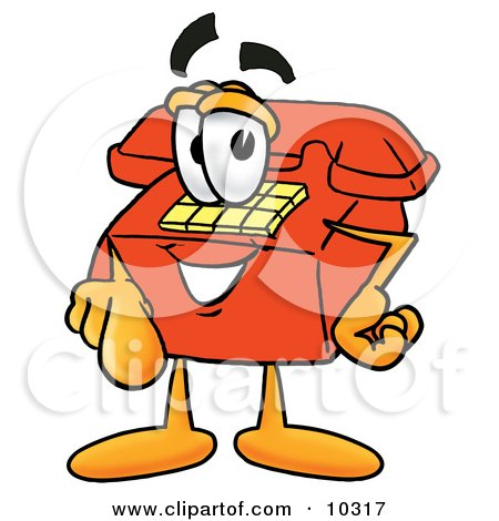 Clipart Picture of a Red Telephone Mascot Cartoon Character Pointing at the Viewer by Toons4Biz